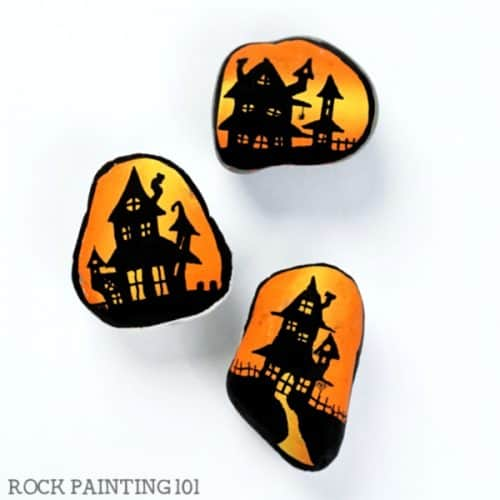 Step by step haunted house painting tutorial for beginners