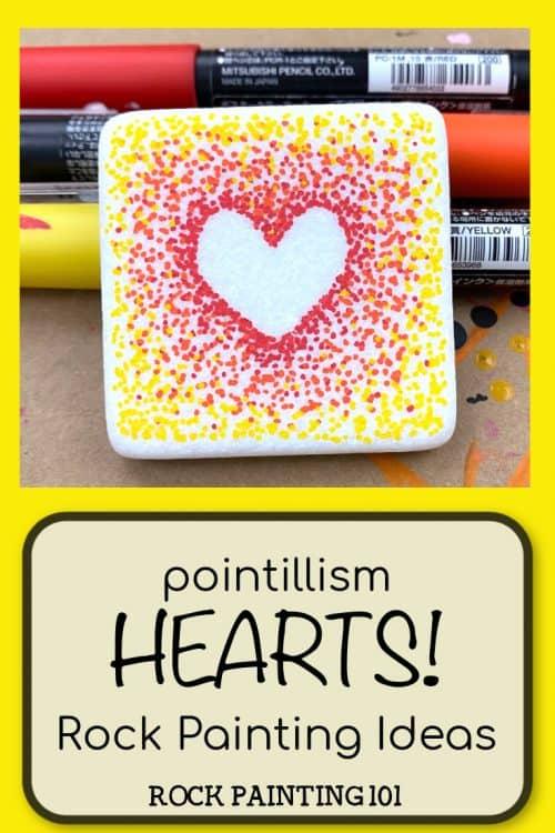 pointillism hearts rock painting idea