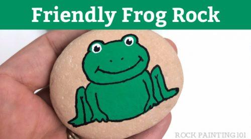 Friendly Frog Rock painting idea