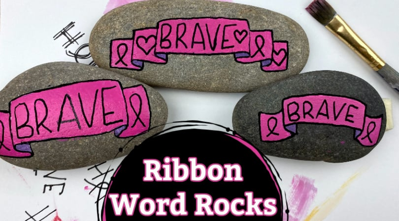 How to Paint a Ribbon Word Rock