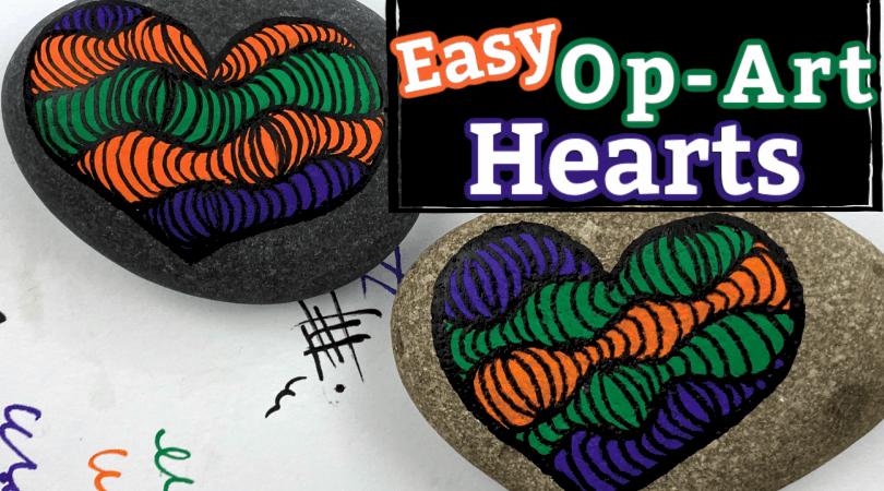 How to Paint an Op-Art Heart Rock