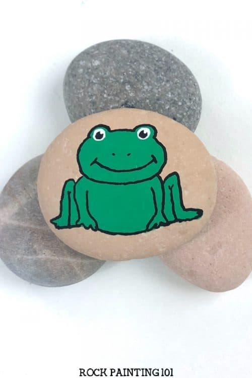 frog painted rock tutorial